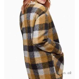 Aritzia plaid wool blend cocoon coat